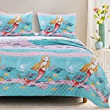 3 Piece Kids Blue Purple Pink Full Queen Quilt Set, Mermaid Pattern Themed Reversible Bedding Ocean Coral Cute Chic Modern Beach Water Sea Shell Whimsical Aqua Fish Colorful Coastal Pretty, Polyester