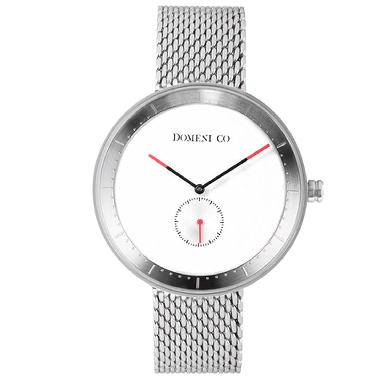Domeni Unisex-Armbanduhr Co SSM01 - Edelstahl - silberfarbenes Armband  - weißes Zifferblatt