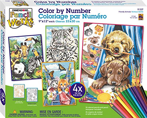 Dimensions Pencil by Number, Friendly Animals Variety Pack Friendly Animals