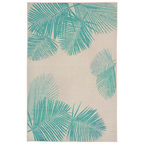 Liora Manne TER45179273 Terrace Casual Botanical Tropical Palm Leaves Indoor/Outdoor Rug, (3' X 5'), Turquoise and ()