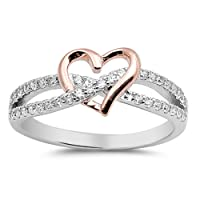 Rose Gold-Tone Heart Promise Ring Sterling Silver Infinity Knot Sizes 4-10