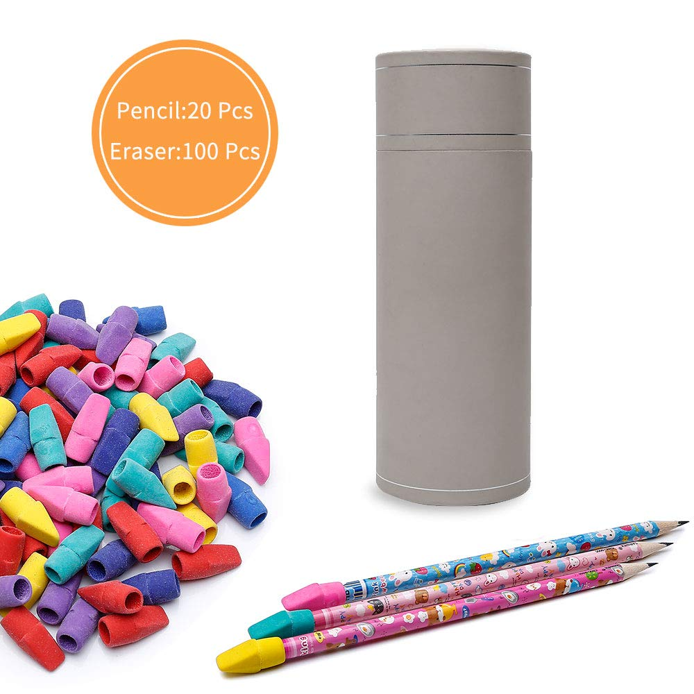 100 Pack Pencil Erasers Caps with 20 Pack Wood Cased #2 HB Pencils Set, Assorted Colors