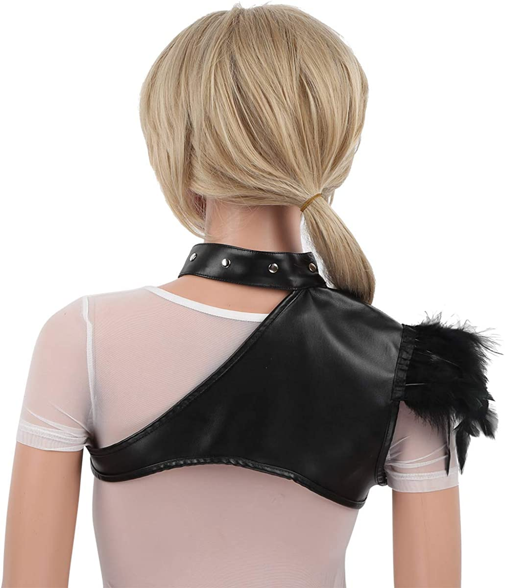 CHICTRY Womens PU Leather Halter One Shoulder Bustier Body Chest Buckle Straps Punk Clubwear