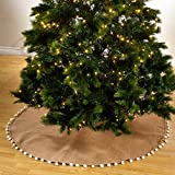 Fennco Styles Pompom Trim Natural 53'' Tree Skirt One Piece