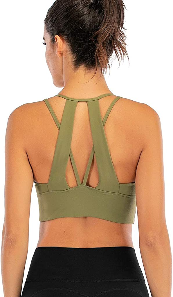 Helisopus Womens Strappy Crisscross Back Support Yoga Gym Sports Bra Tops /…
