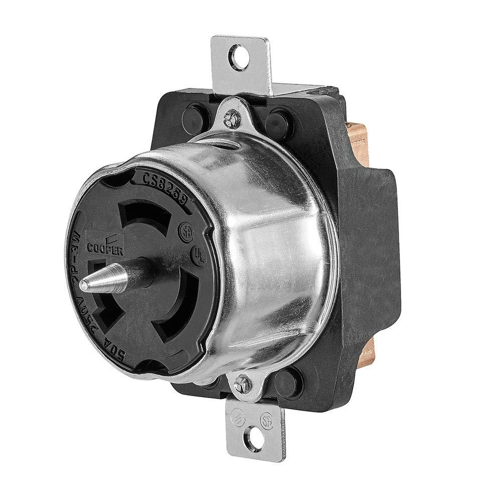 Cooper Wiring Devices CS8269 Recp Single 50A 250V 2P3W H//L BK