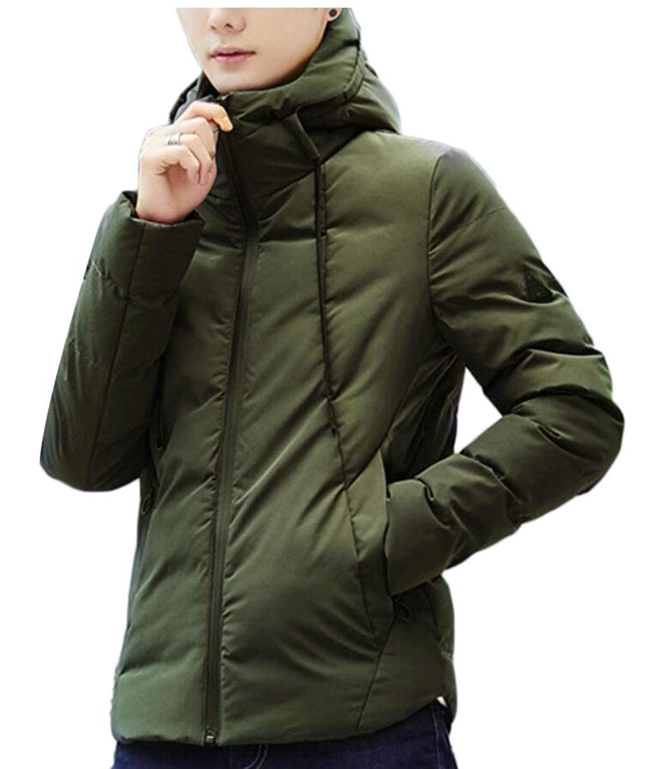 Yayu Mens Thicken Quilted Hooded Waterproof Down Jacket Coat Outerwear