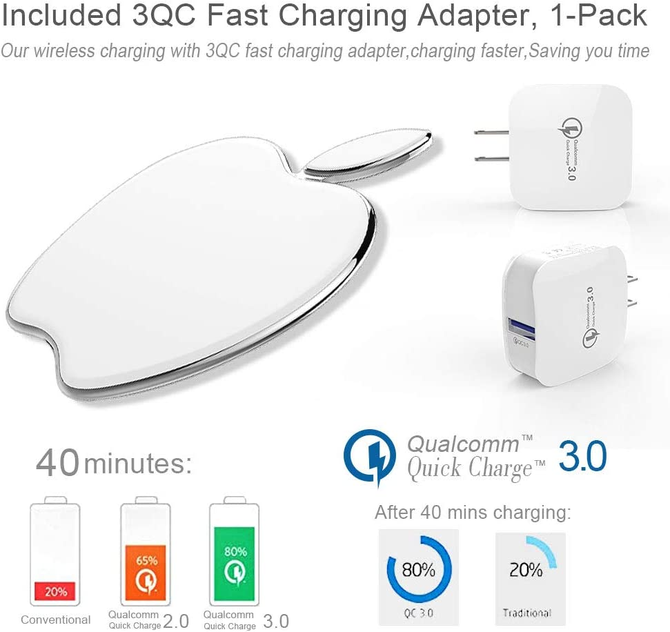 Qi Certified 10W Fast Wireless Charging Pad Compatible with iPhone iPhone 11//11 Pro//11 Pro max//Xs Max//XS//XR//X//8//8 Plus Yamokeji Wireless Charger Samsung Galaxy S10//S10 Plus//S10E//S9+//S8 and More