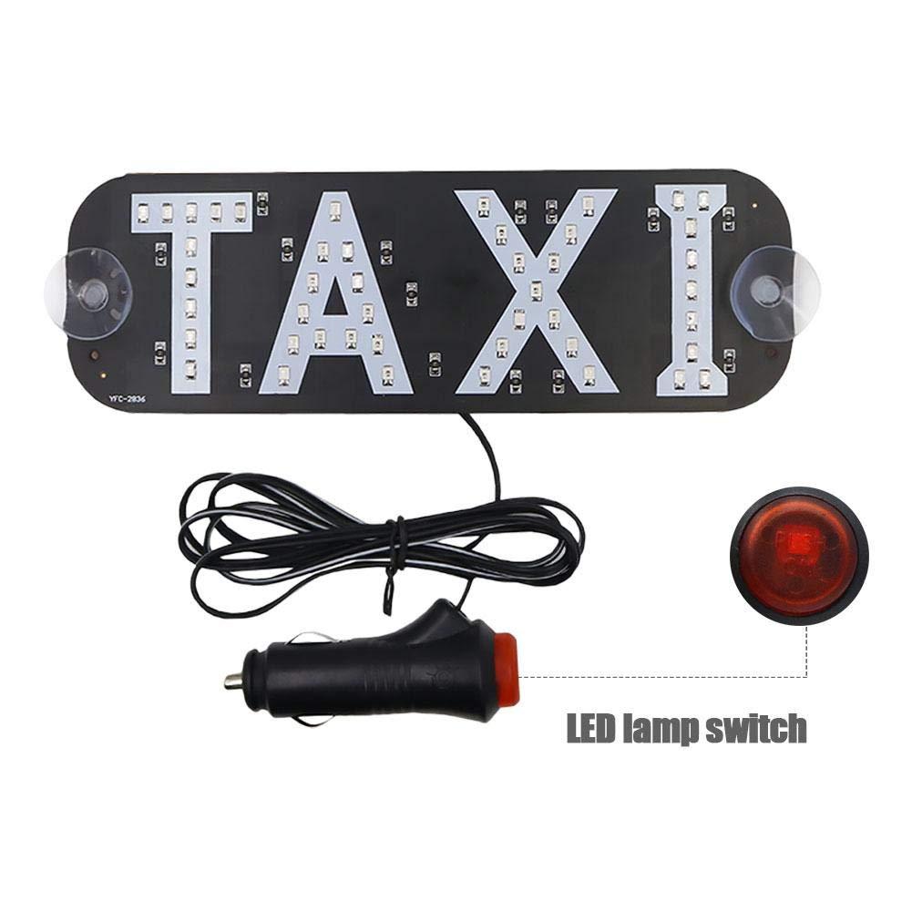 Katurn Taxi LED Sign Decor Glasplatten LED Leuchtanzeige Mit DC 12 V Kfz-Saugnapf Zigarettenanz/ünder