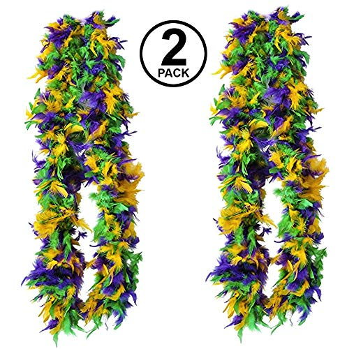 Tigerdoe Feather Boas - 2 Marabou Boas, Party Dressup Costume Accessories, 72 Inch Long (2 Pack Mardi Gras Boas) -