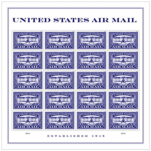 Blue Postage Stamp - USPS Forever First Class Stamp: Air Mail Blue, 5 Sheets (100 Stamps) Wedding Celebration