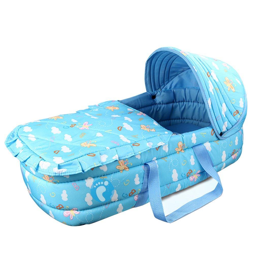 OLizee baby carrycot infant carrier snuggle nest baby infant cribs infant transporter Nursery Portable Infant basket (azure)