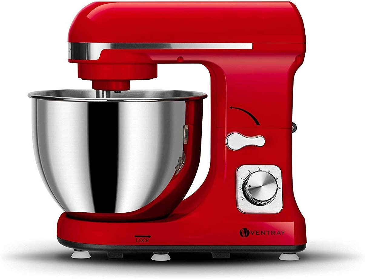 Ventray Stand Mixer 6-Speed 4.5-Quart Stainless Steel Bowl with Pouring Shield - Lava Red