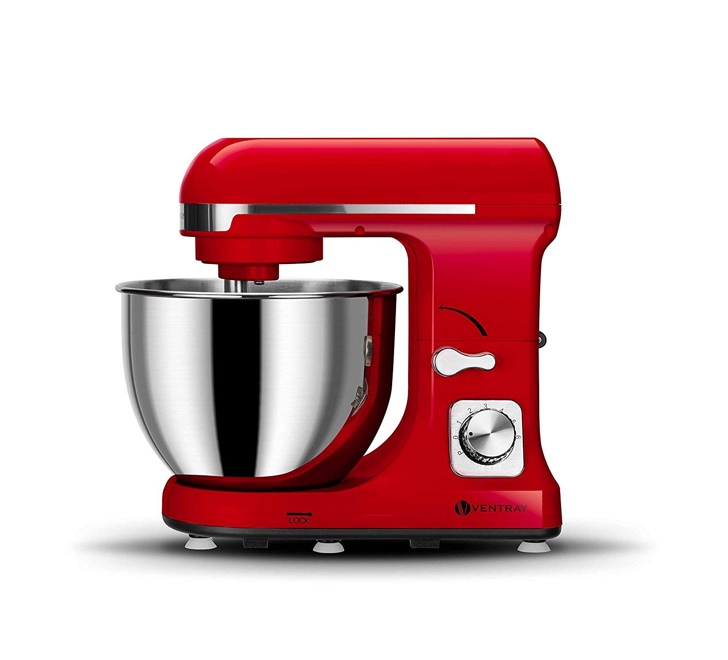 Ventray MK37 Professional Grade 4.5-Quart 6-Speed Stand Mixer with Pouring Shield - Lava Red