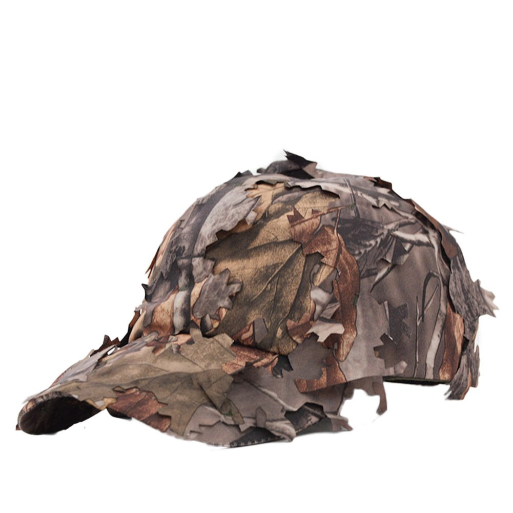 ZLSLZ Camouflage Fishing Sun Trucker Wide Brim Bucket Caps Hats With Decorated Leaves