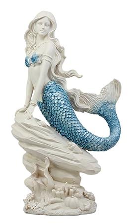 Ebros Gift Aqua Blue Tailed Mermaid Sitting On Sea Rock Figurine 11.5 H Ocean Aquamarine Princess Ariel With Coral Reef Decorative Statue As Nautical Coastal Sea Life Decor
