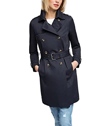 ESPRIT Women's Cotton Trench Long Sleeve Coat, Blue (Navy), Size 8 (