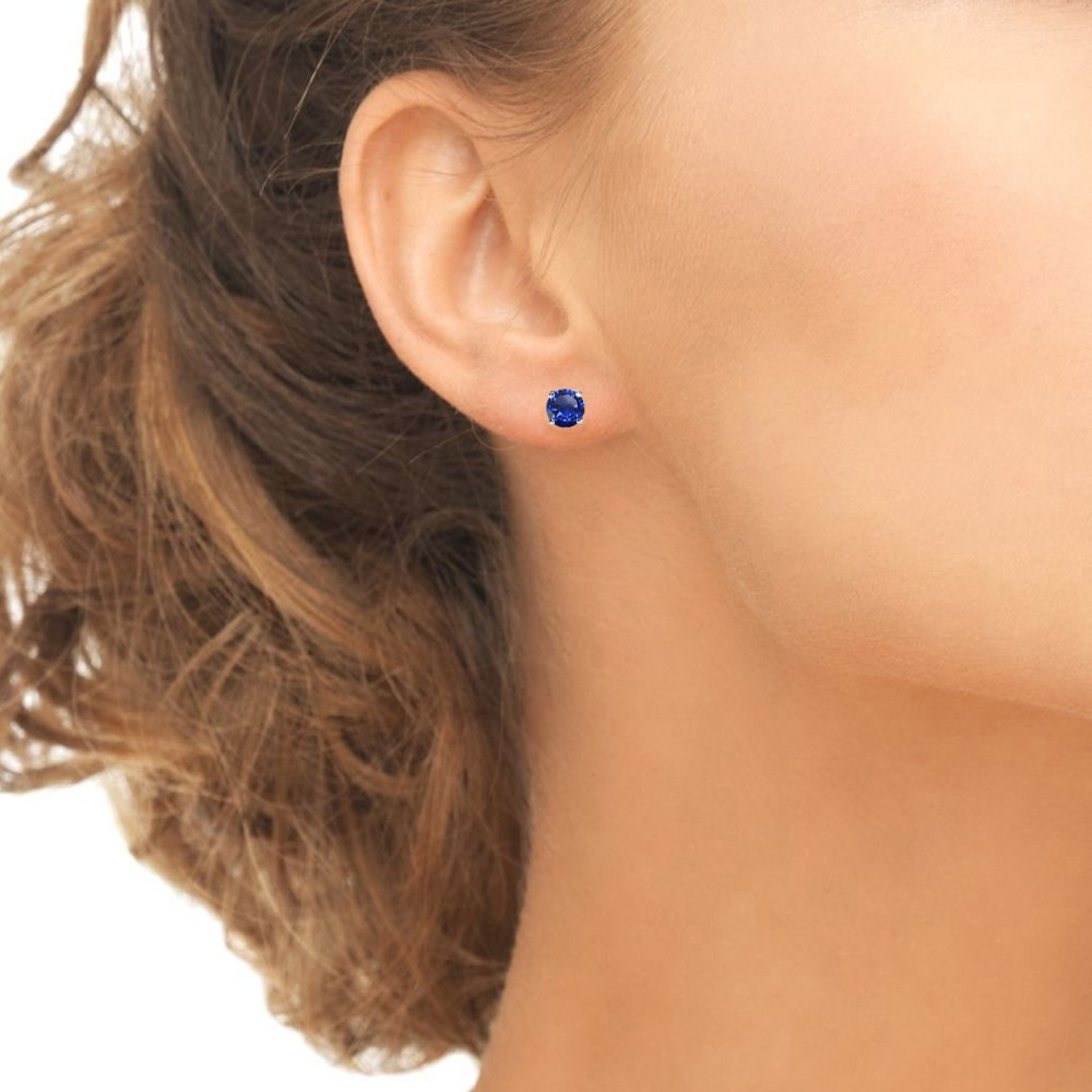 Sterling Silver Created Blue Sapphire 5mm Round-Cut Solitaire Stud Earrings by GemStar USA (Image #3)