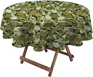 """Round Table Cove Camo for Garden Patio Party Tabletop Sketchy Skulls and Crossbones Warning Sign Spooky Scary Horror Tile 50"""" Diameter Light Brown Green Light Green"""