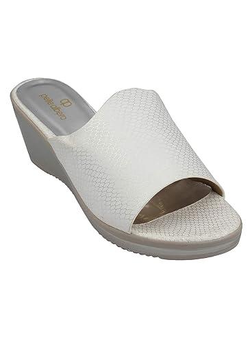 e5a3e434456ad pelle albero Womens White Comfortable Wedges Heels Slippers: Buy ...