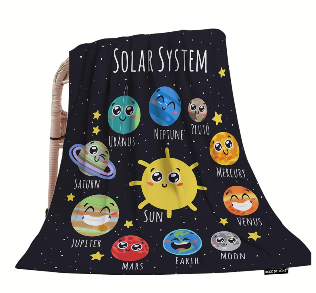 HGOD DESIGNS Space Throw Blanket,Cute Solar System Sun Moon Pluto and Planets On Space Soft Warm Decorative Throw Blankets for Adults Kids Women Men Girls Boys,40''x50''