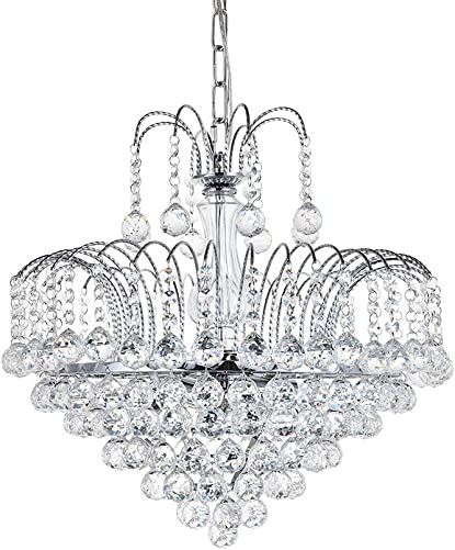 A1A9 Modern Crystal Chandelier Clear K9 Crystal Ball Raindrop Ceiling Light Fixture with 6 Lights Luxurious Elegant Pendant Lighting for Dining Room Living Room Bedroom Hallway Stairway Home Decor