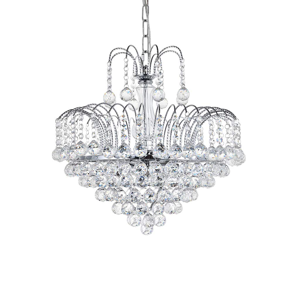 Dst Modern Crystal Chandelier Clear K9 Crystal Ball Raindrop Ceiling Light Fixture with 6 Lights Luxurious Elegant Pendant Lighting for Dining Room Living Room Bedroom Hallway Stairway Home Decor by Dst