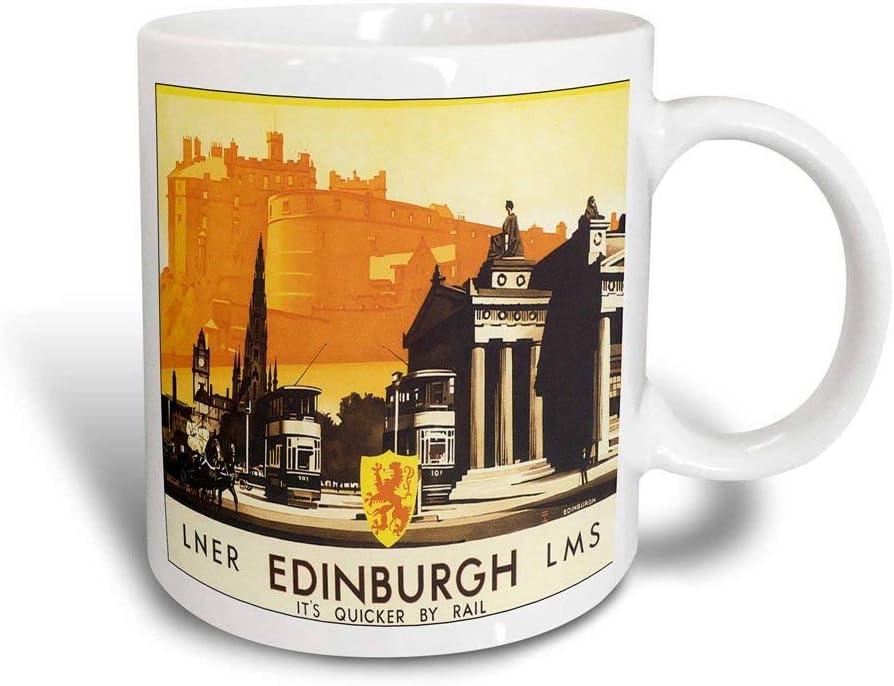 mug Póster de viaje Edinburgh Quicker By Rail con caballo y carruaje Taza mágica transformadora de 11 oz