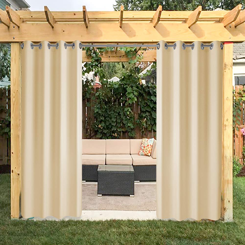 HGMart Outdoor Curtain Panel for Porch Patio,Privacy Drape Grommets Window Curtain with UV Ray Protected and Waterproof ,Easy to Hang On 50''x84'' Beige