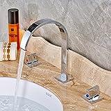 Rozin Two Handles Bath Mixer Taps Widespread Waterfall Bathroom Sink Faucet or Bath Tub Faucet Chrome Unique Designer Vanity Cooper Plumbing Fixtures Roman Tub Faucets Glacier Bay Faucets by Rozin