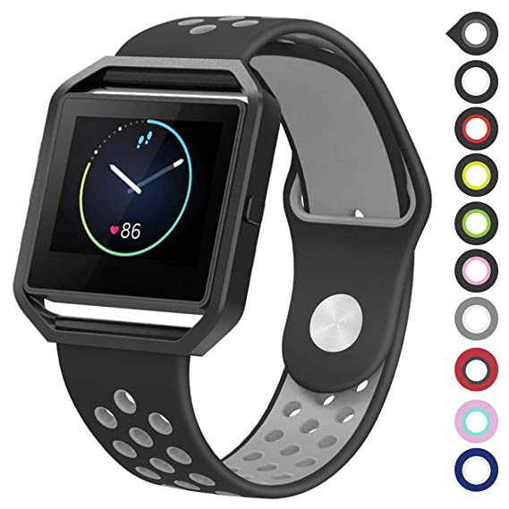 Meifox Fitbit Blaze Bands for Women Men,Soft Silicone Replacement Band for Fitbit Blaze Smart Watch (Black Gray, Large)