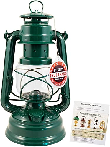 Feuerhand Hurricane Lantern – German Made Oil Lamp – 10 with Care Pack Green