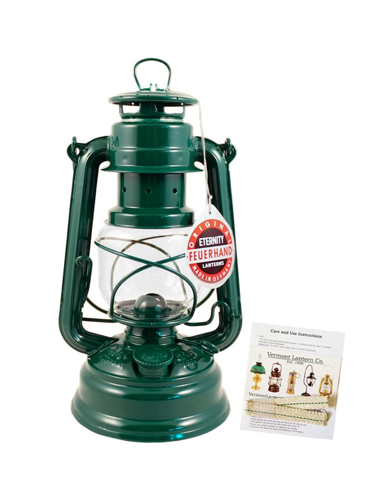 Feuerhand Hurricane Lantern - German Made Oil Lamp - 10'' with Care Pack (Green)