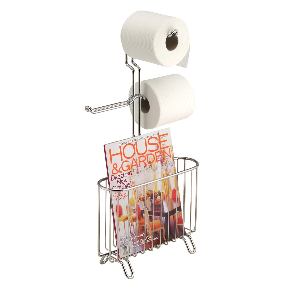 InterDesign Classico Newspaper and Magazine Rack for Bathroom Storage, Over the Tank - Chrome 68930