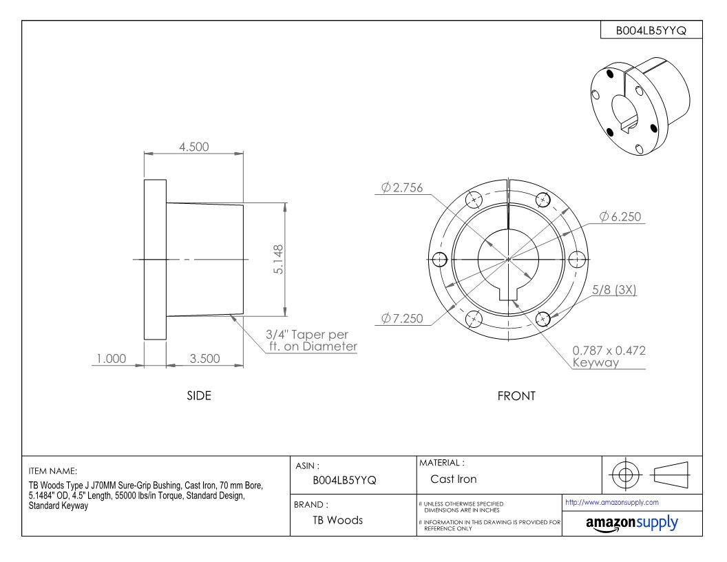 4.5 Length 5.1484 OD 70 mm Bore Standard Design Cast Iron TB Woods Type J J70MM Sure-Grip Bushing Standard Keyway 55000 lbs//in Torque