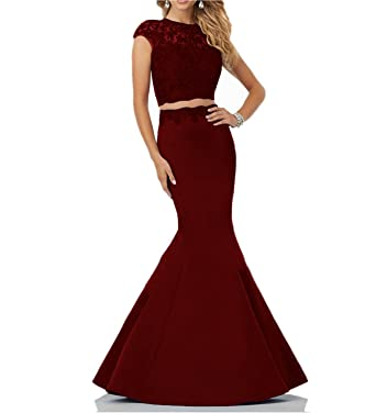 XSWPL 2 Piece Mermaid Prom Dresses Lace Prom Gowns 2018 Satin Evening Party Dress - Red