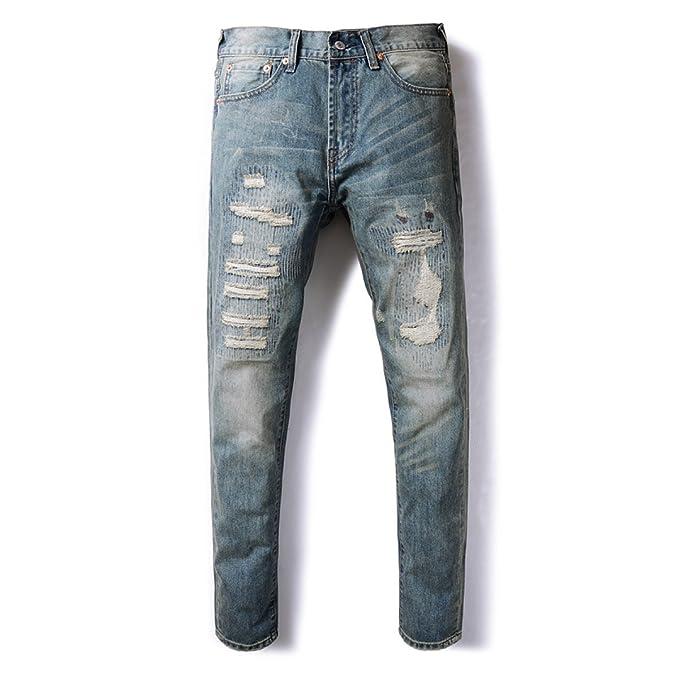 Pantalones Vaqueros Retro Rasgados De Los Hombres Pantalones ...