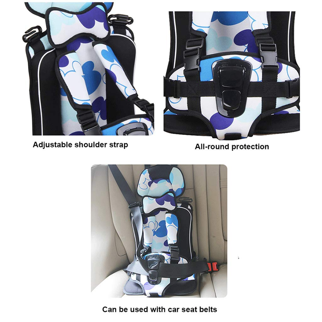 DDayuer Portable Children Car Seat Cushion Car Seat Protector Cover Thickening Pad Pillow Neck Support for Most Car 5-Point Seat Belt,A,S