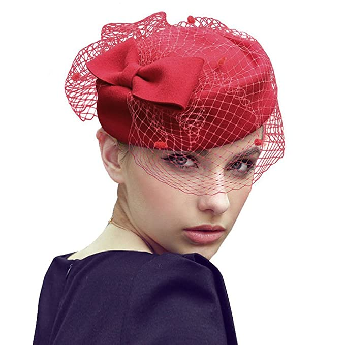 Fascigirl Pillbox Hat Veil Fascinator Party Wedding Retro Top Hat for Women bc97f144837