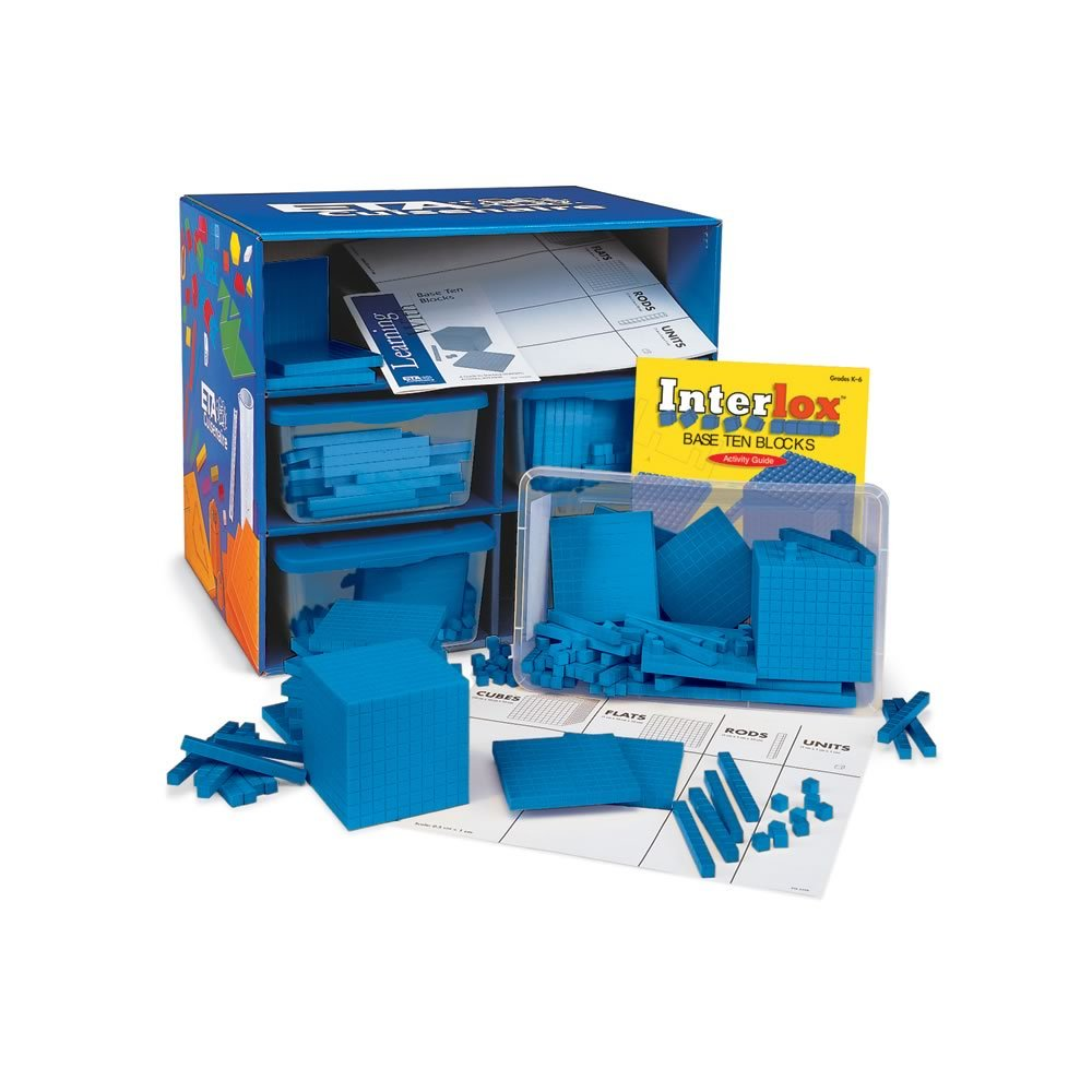ETA hand2mind Blue Interlox Base Ten Blocks, Class Set (Set of 644)