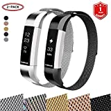 FunBand for Fitbit Alta HR and Alta Strap Mental Bands,Milanese Stainless Steel Adjustable Replacement Accessory Bracelet Straps with Convenience Magnet Lock for Fitbit Alta and Fitbit Alta HR