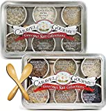 The Gourmet Sea Salt Sampler 2-pack - Infused + French Duo - Perfect as a Gift Set - Reusable Tins & Bamboo Spoon - Gluten-Free, No MSG, Non-GMO - 1/2 oz. each, 6 total oz.
