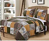 2 Piece Patchwork Floral Geometric Design Quilt Set Twin Size, Featuring Colorful Reversible Paisley Print Comfortable Bedding, Traditional Country Sassy Bedroom Decoration, Green, White, Multicolor