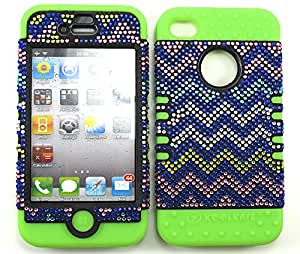 APPLE IPHONE 4 4S 4G CASE CHEVRON GR-FD300 HEAVY DUTY HIGH IMPACT HYBRID COVER LIME GREEN SILICONE SKIN