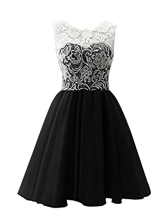 VaniaDress Women Short Ball Gown Prom Dress Flower Girls Homecoming Dresses Black US2