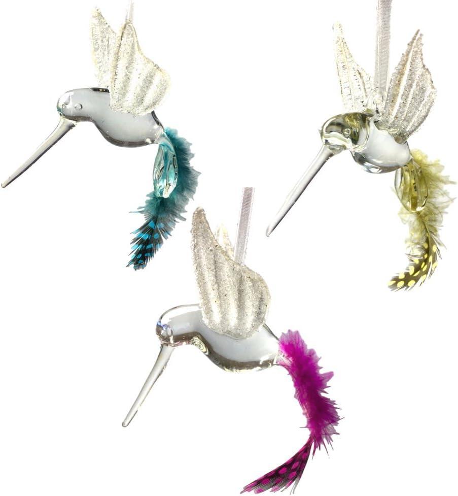 3 x Ivory Clip on Humming Bird Wedding Decoration Cream Glitter Clip on Birds