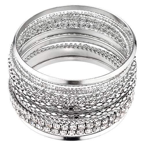 Lux Accessories Pave Chain Link Mesh Multi Bangle Bracelet Set.