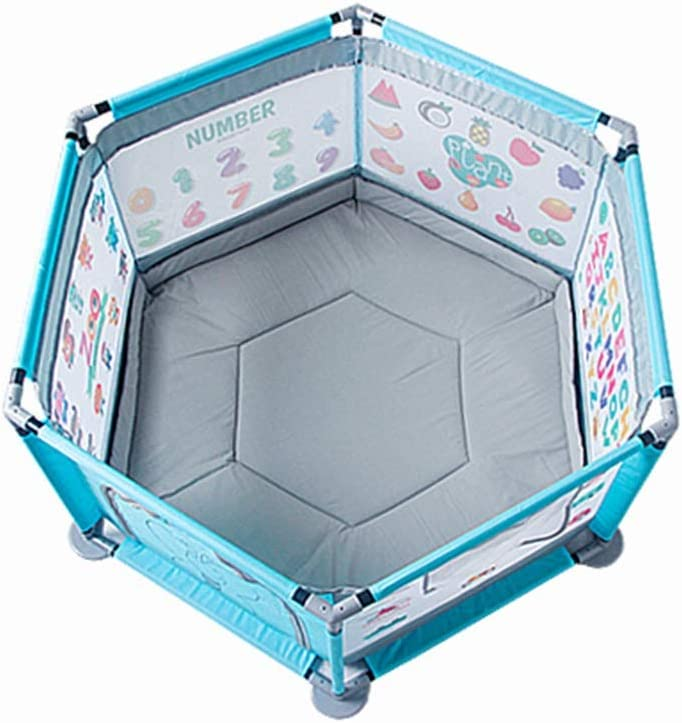 QFFL Baby Playpen,Portable Playard for Intants and Toddler Hexagonal Mesh Play Center Fence with Cushions for Kids-Pink//Blue//Green PARC Pour B/éb/é, Color : 4, Size : with Cushion