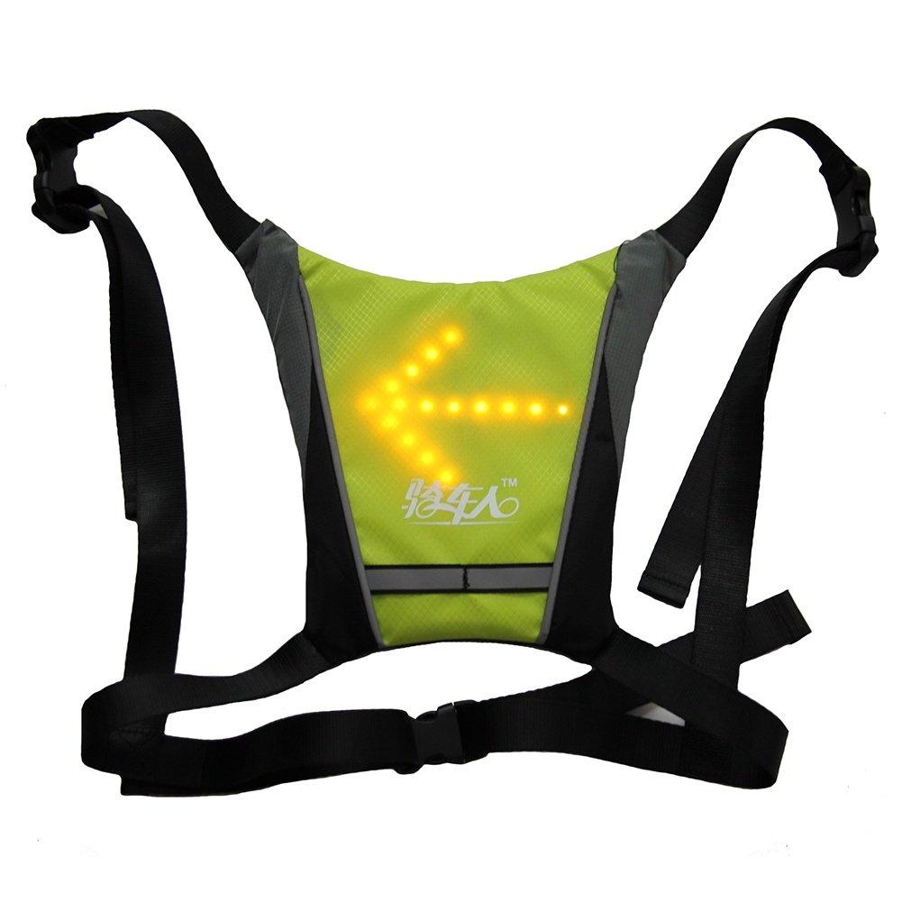 FJY LED Reflektierende Sicherheit Weste Warnweste Sicherheitsweste,USB Aufladbare mit Blinker Licht Kabellose Fernbedienung,für Laufen Joggen Wandern Snowboarden