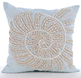 "Designer Light Blue Shams, Beaded & Jute Sea Creatures Ocean & Beach Theme Pillow Shams, 24""x24"" Pillow Sham, Square Cotton Linen Shams, Mediterranean Pillow Shams - Swirl Twirl"